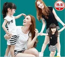 Hot !!  Cotton Family Set tričká pruhované krátky rukáv O-neck T-shirt šaty Matka a dcéra dievča šaty! (Čína (pevninská časť))