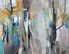 Exploring Tomorrow-abstract trees by Joan Fullerton Acrylic ~ 48 x 60