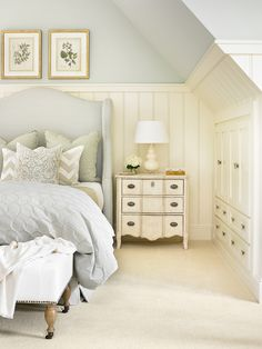 Cream and Light Blue Traditional Bedroom in Buckhead HomeYou can find Traditional bedroom and more on our website.Cream and Light Blue Traditional Bedroom in Buckhead Home Attic Master Bedroom, Home Bedroom, Bedroom Ideas, Upstairs Bedroom, Design Bedroom, 1930s Bedroom, Garage Bedroom, Attic Bathroom, Bedroom Colors