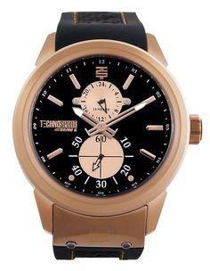 Technosport TS6-1000-2 Men's Watch GMT Rose Gold Stainless Steel Case Black Rubber Strap