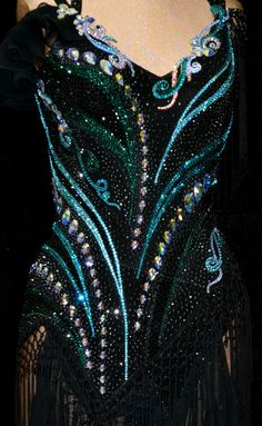 black and blue crystal bodice design