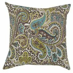 "Cotton pillow with a paisley motif. Made in Council Bluffs, Iowa.   Product: Set of 2 pillows Construction Material: Cotton cover and polyester fillColor: Aqua, brown, tan and white Features:  Inserts includedMade in Council Bluffs, Iowa  Dimensions: 17"" x 17"" eachCleaning and Care: Hand or spot clean"
