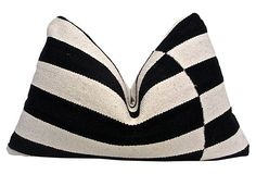Woven Stripe & Antique French Linen Pillow