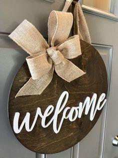 Door Hanger Welcome Sign Front Door Decor Year Round Brown Front Doors, Yellow Front Doors, Welcome Signs Front Door, Front Door Decor, Circle Crafts, Tree Crafts, Wood Crafts, Etsy Co, Realtor Gifts