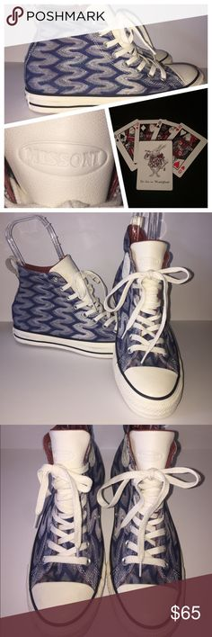 New Converse X Missoni Chuck Taylor Hi top Sz 9 New without box. Converse X Missoni Chuck Taylor All Star in the Egret style. Blue zig zag design in blue and white with blue sparkle/Shimmer stitching all over woven inside the fabric. Tagged a men's size 7 or women's size 9. High top with white faux leather tongue embossed with Missoni. Converse Shoes Sneakers