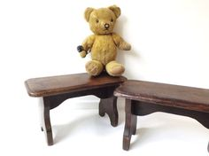 Vintage Rustic Wooden Stool Child Gift by CuriosAnCollectibles