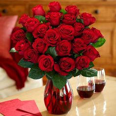"""Happy Valentine's Day!!! Two Dozen Red Roses...Pure romance, pure tradition, pure red roses. Send two dozen roses to your wife """"just because."""" Send two dozen roses to your girlfriend to get out of the doghouse. Send two dozen roses to someone you love, because, with roses like these, they're sure to love you back. www.relationshipromance.us, www.meaningofintimacy.us, #romanticgifts"""