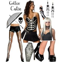 "looking for something a little different?  how about a modern cute skeleton costume!  corset top and skirt, gloves, stockings, shoes, wig, parasol umbrella, and coffin purse available from our store! ""Sexy Skeleton Costume Set"" by costumelicious on Polyvore    #Skeleton #SkeletonCostume #Halloween #HalloweenCostume"