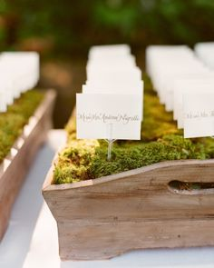 Wedding Ideas: seating-chart-moss-basket