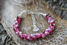 Swarovski Kumihimo Bracelet Rose Red by SimplyLeilani on Etsy, $45.00