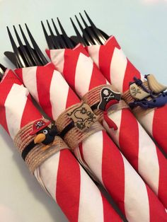 Pirate Party Flatware with Pirate Napkin by MadHatterPartyBox