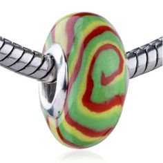 Pugster Bead Green Yellow Red Swirl European Charm Bead Fits Pandora Bracelet Pugster. $14.84. Weight (gram): 1.65. Size (mm): 8.8*15.68*15.68. Note: Snake chain is not included. Metal: polymer clay. Color: red, yellow, green