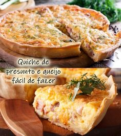Quiche de Presunto e Queijo: receita assada, fácil e muito saborosa  #quiche #quicherecipes #receitas #receitascaseiras #presunto #queijo #quichelorraine #receitadodia Quiches, Gourmet Desserts, Dessert Recipes, Easy Cooking, Cooking Recipes, Brazillian Food, Antipasto Platter, Spanish Tapas, Quiche Lorraine