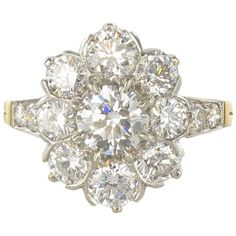 Antique French  Diamond Daisy Cluster Engagement Ring