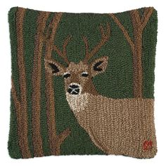 Woodland Deer Hooked Wool Pillow
