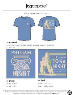 JCG Apparel : Custom Printed Apparel : Phi Gamma Delta Toga Night T-Shirt #pgd #phideltagamma #toga #dateparty #bandparty