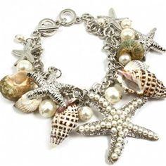Silver Starfish & Seashell Charm Bracelet