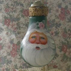 Does it get any prettier?!  Hand Painted Romantic Santa Christmas Ornament by BrushedByAnAngel