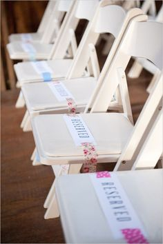this is a cute way to reserve seats at the ceremony