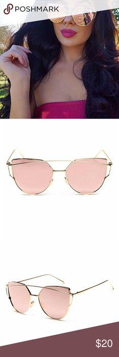 Pink Cat Eye Gold Framed Sunglasses New trendy cat eye sunglasses. Gold frames around pink lenses.  BG1RACGD31517 Accessories Sunglasses