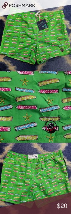 """Southern Proper mens swimming trunks beach sz 2XL NWT SOUTHERN PROPER  POLYESTER SHELL AND MESH LINING MENS/BOYS SWIM TRUNKS/SHORTS  BRIGHT GREEN WITH SOUTH CAROLINA/GEORGIA BEACH SIGNS OF THE ISLANDS, ST. SIMONS, PAWLEY, AMELIA, BEAUFORT, SEASIDE ETC.  BACK FLAP VELCRO POCKET, GROMMET TO RELEASE WATER ELASTIC DRAWSTRING WAIST SIDE INSEAM POCKETS LENGTH INSEAM APPROX 5"""" total length 17"""" southern proper Swim Swim Trunks"""