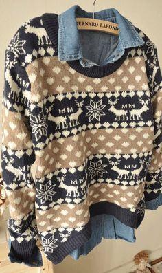 Christmas deer snowflake diamond loose sweater