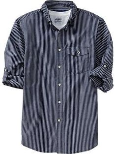 Men's Patterned Roll-Sleeve Slim-Fit Shirts | Old Navy