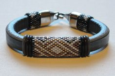 Blue Leather Peyote Beadwoven Bracelet by Calisi on Etsy