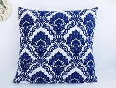Decorative Baroque Pillow Cover, 40cm x 40cm blue and white colour / handmade