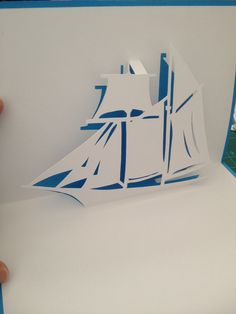 "Sailing ship pop-up card  (Template from ""cahier_de_kirigami 90"")"