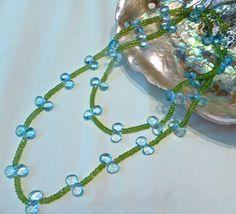 Green Peridot embellished with blue topaz pedles Green Peridot, Blue Topaz, Crochet Necklace, Collection, Jewelry, Fashion, Moda, Jewlery, Crochet Collar