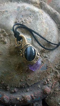 Amethyst Cats Eye clay healing crystal pendant Handmade Mystic