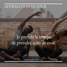 """""""Je prends le temps de prendre soin de moi."""", c'est l'affirmation positive que je t'invite à mémoriser et à réciter aujourd'hui, afin de prendre l'habitude de te réserver du temps. - Pour plus de conseils et de suggestions pour mener une vie plus positive et agréable, je t'invite à me rejoindre sur mon blog MHT MyHappinessTherapy. - #blog #coachingdevie #vivremieux #vivreheureux #positivite #optimisme #bienetre #developpementpersonnel #soindesoi Encouragement, Vie Positive, Affirmations Positives, Afin, Motivation, Blog, Movies, Movie Posters, Make Time"""