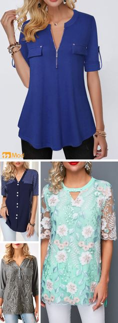 casual tops, dot rinted, - Fashion New Trends Pretty Outfits, Cool Outfits, Fashion Outfits, Fashion Belts, Women's Fashion, Trendy Tops, Casual Tops, Modelos Plus Size, Looks Plus Size