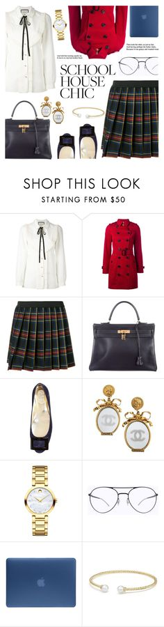 """finals season"" by freshprincesse on Polyvore featuring mode, Gucci, Burberry, P.A.R.O.S.H., Hermès, Roger Vivier, Chanel, Movado, Mykita et Incase"