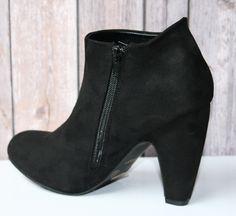 Women's Black Faux Suede Bootie With Side Zipper | Cali Boutique | FREE U.S Shipping!