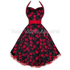 Hearts & Roses London inspired Black Red Big Cherry halter dress is made of a black stretch cotton blend with vibrant big red cherries and green stems. Pin Up Outfits, Pin Up Dresses, 50s Dresses, Vintage Dresses, Evening Dresses, Vintage Outfits, 1920s Fashion Dresses, 40s Fashion, Vintage Fashion