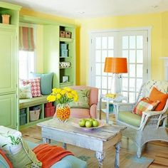 Yellow Orange and green sitting room