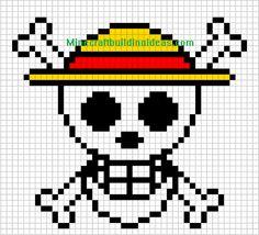 Minecraft Pixel Art Templates: Straw Hat Luffy