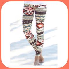 New Listing! NWT Comfy Aztec  Pattern Leggings The colors in these leggings are amazing! Super pretty! A lot brighter than the picture shows! I love these! Boutique Pants Leggings