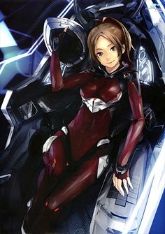 Ayase - Guilty Crown  Funeral Parlor's top Endlave pilot. She's disabled and bound to a wheelchair, but she's one of the strongest female roles I've come across.