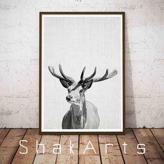Deer Print Deer Antlers Deer Head Wilderness Wall Art by ShakArts