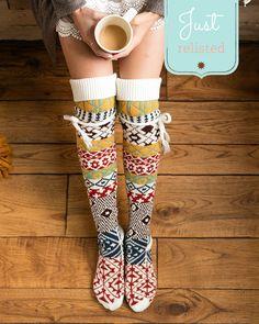 0c70ed6d2b9 (  sale  ) Alpine Thigh High Boot Socks in Fair Isle. Lace Boot SocksKnee  ...