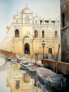 Jim Smither - Venetian Reflections - Venice Italy- Watercolor - Painting entry - January 2014   BoldBrush Painting Competition