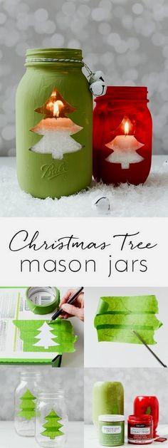Christmas tree mason jar votive - Christmas tree cut out mason jar craft. Mason jar crafts for the holiday. Christmas tree candle. Includes full tutorial. #diymasonjar #diyhomedecor #diy