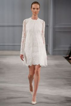 Monique LHuillier - Spring 2014  TAGS:Knee-length, Long sleeves, Pattern, White, Monique Lhuillier, Lace, Elegant, Modern