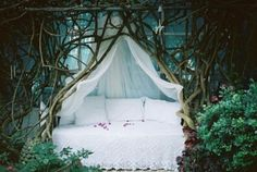 Enchanted bedroom in the wood.