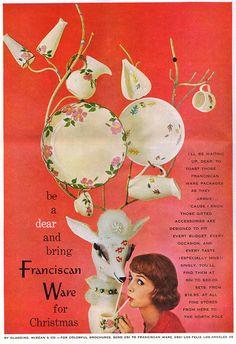 1957 Franciscan Desert Rose Autumn plate pitcher etc photo vintage Xmas print ad Christmas Ad, Christmas Pictures, Vintage Christmas, Christmas Graphics, Photo Vintage, Vintage Ads, Vintage Advertisements, Vintage Stuff, Print Advertising