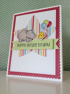 Lawn Fawn - Year Four + coordinating dies, Puffy Star Lawn Cuts die _ adorable Hippo Birdie card by Fiona via Flickr - Photo Sharing!