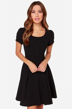 Bakewell Short Sleeve Black Dress at LuLus.com! Gret LBD and great for a christmas party!